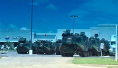 Jeanne's husband Paul snaps this pic near their home of the US Marine Corps in their Amphibious Assault Vehicles.